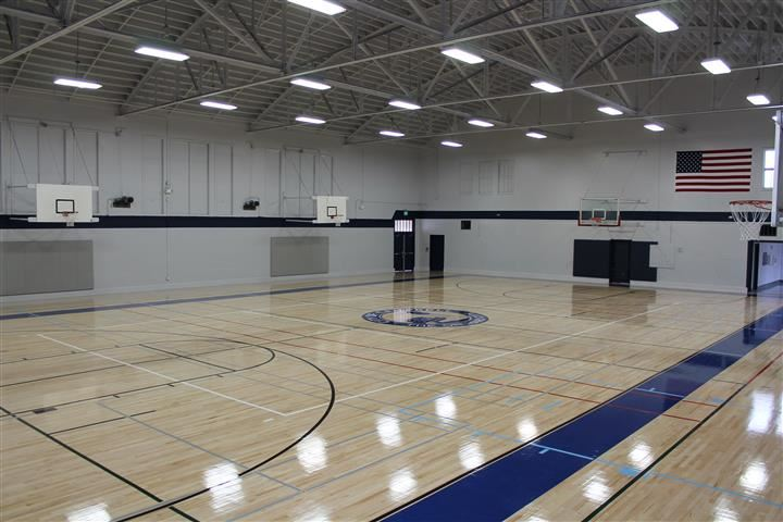 Main Gym used for basketball, volleyball, various exercise classes, sports leagues
