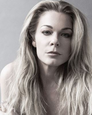 LeAnn Rimes black and white close up photo