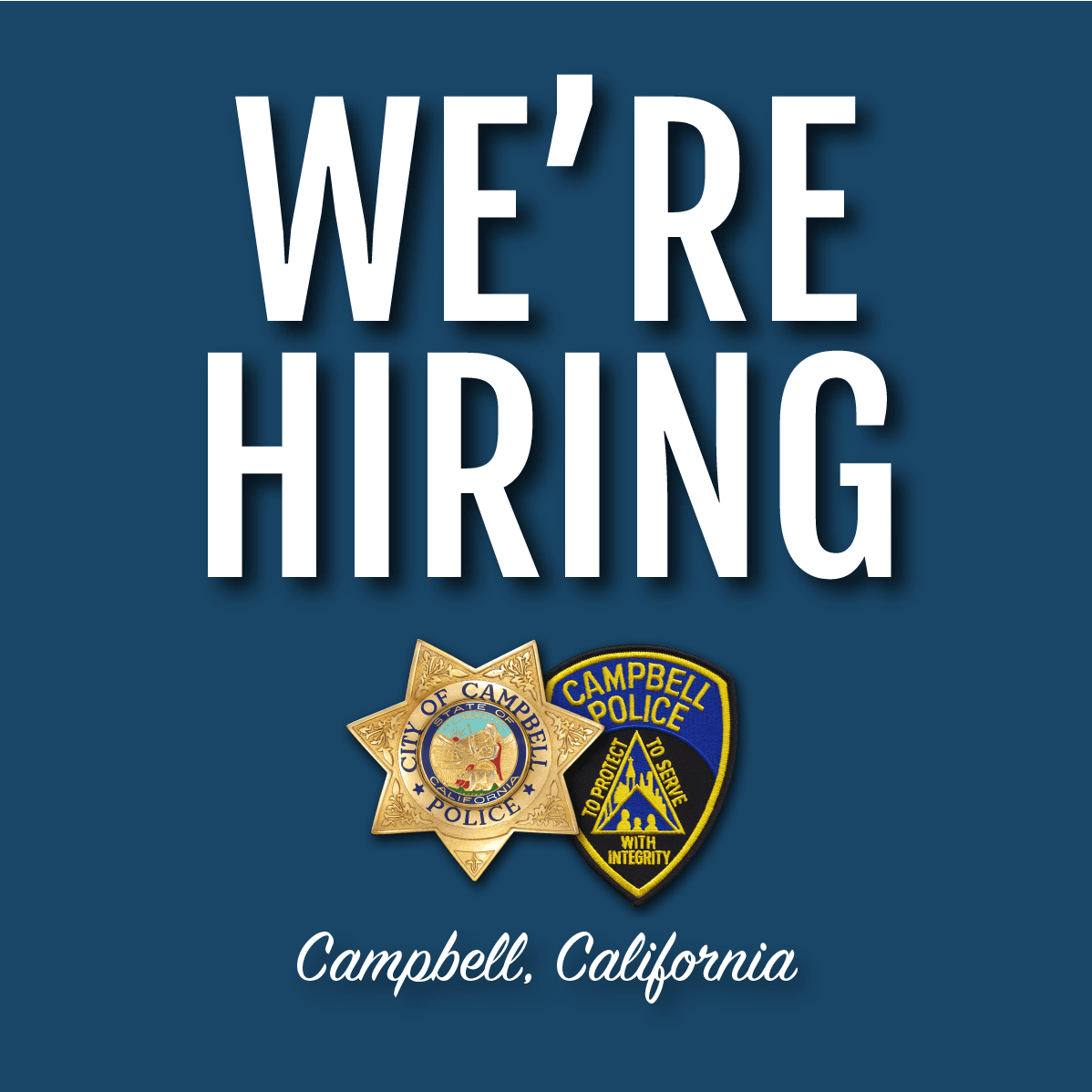 We're Hiring at the Police Department with department badge/patch logo.