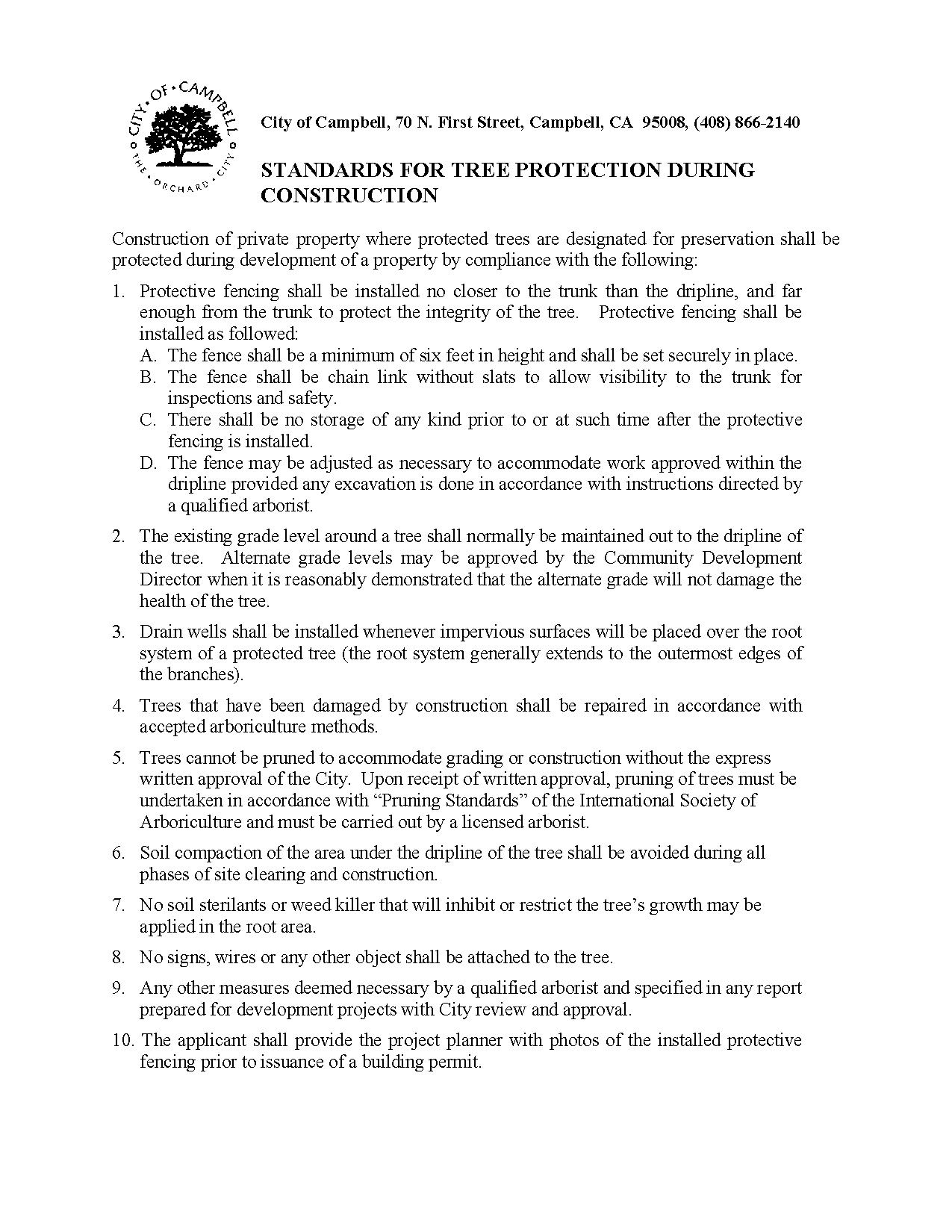 Tree Protection Standards Handout
