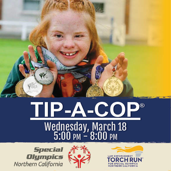Tip A Cop Wednesday, March 18 from 5:00 to 8:00 PM. Image of a Special Olympic Athlete with 5 medals