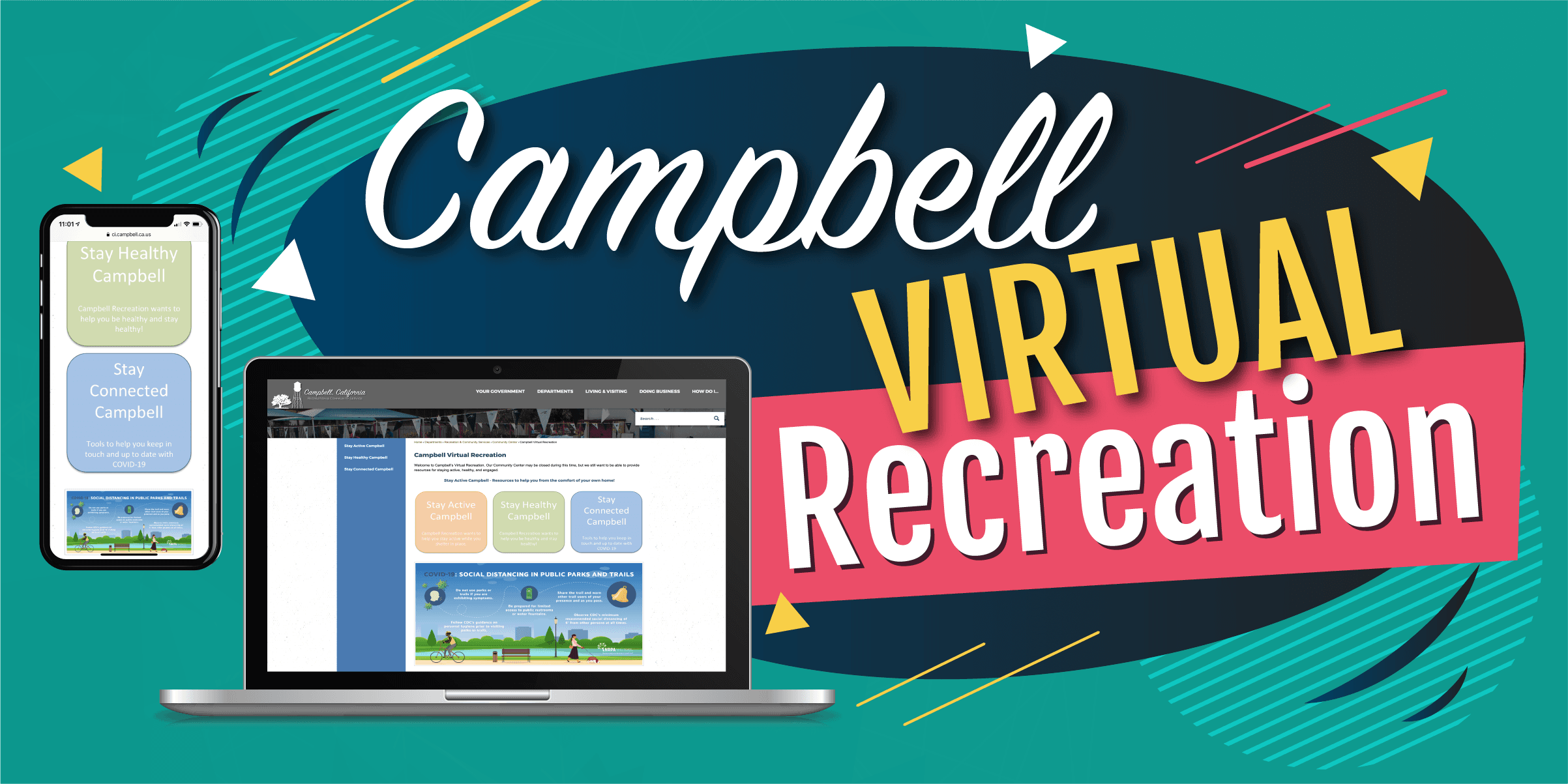 Campbell Virtual Recreation with graphics of an iPhone and laptop.