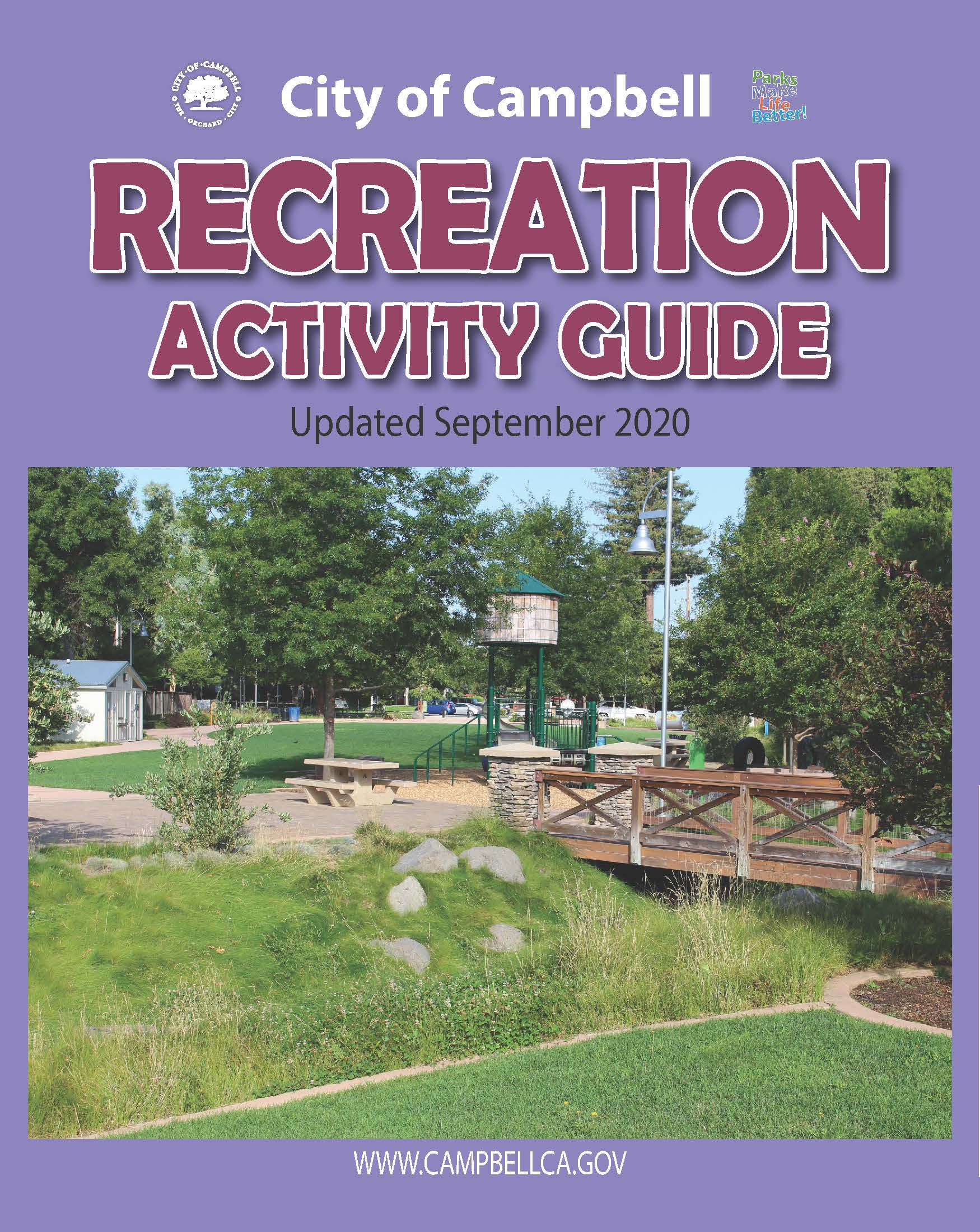 Photo of cover page of Fall 2020 Activity Guide for recreation programs