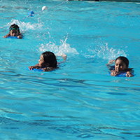 Swim Lessons offered to advanced beginners ages 7-14 years at the Campbell Community Center pool