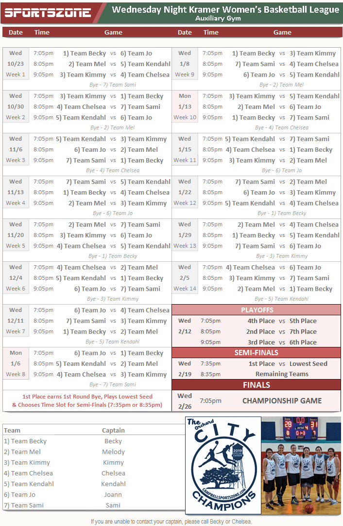 Kramer League Schedule