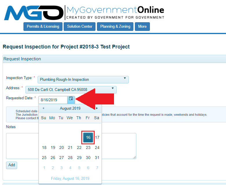 Image of MyGovernment Online Application Screen