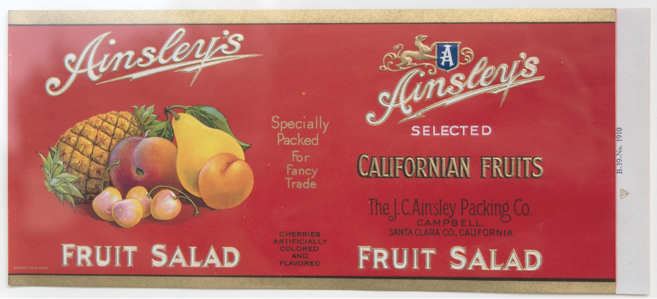 Vintage red Ainsley's Fruit label with pictures of fruit.