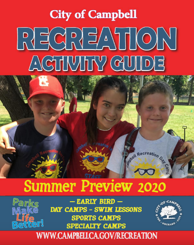 Cover photo of Summer preview guide two boys from camp smiling with female camp leader Opens in new window
