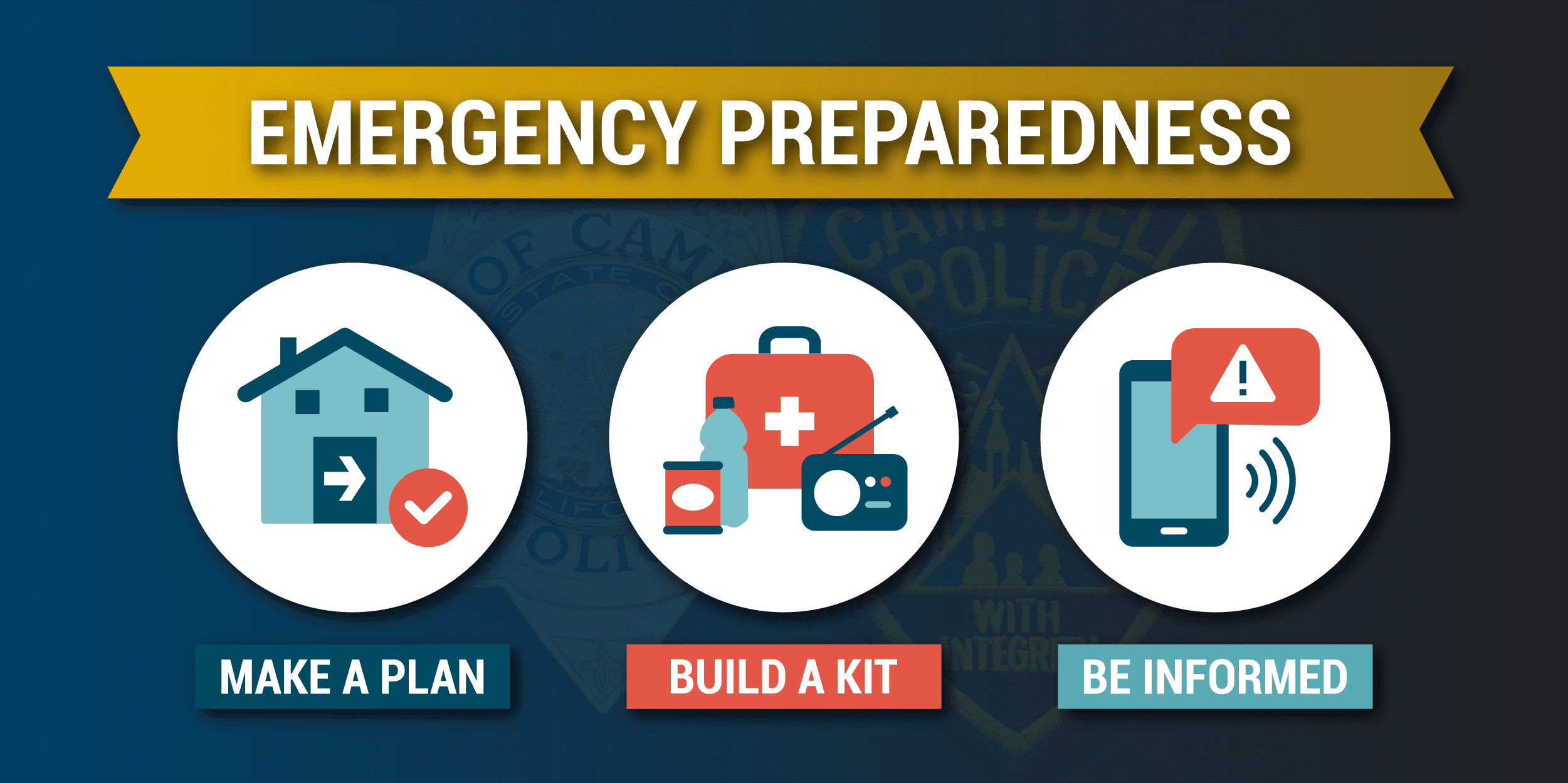 Emergency Preparedness: make a plan, build a kit, be informed.